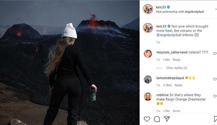 Kelsey Henson's sponsored post on Instagram for Reign Body Fuel