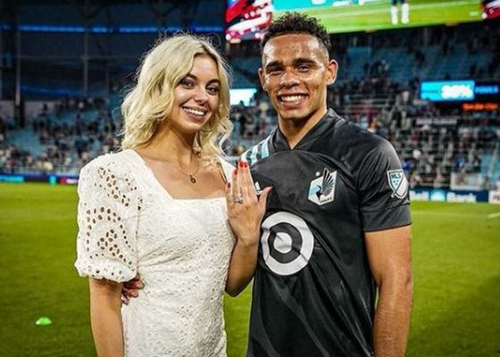 Petra Vučković with her fiance, showing off her ring