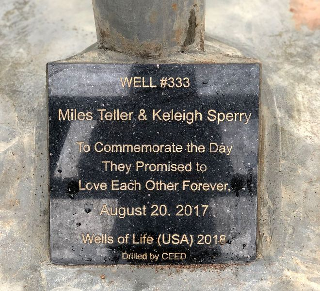 Picture of the well donated by Keleigh Sperry's parents as an engagement gift to Keleigh Sperry and Miles Teller in memory of their engagement in Africa