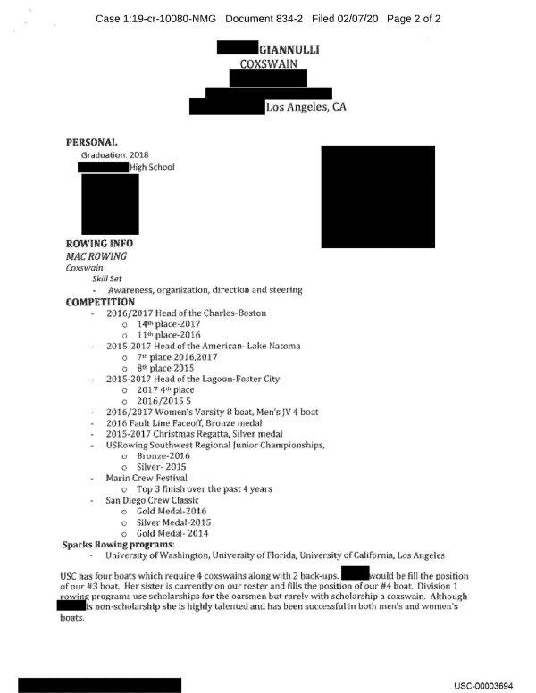 Alleged resume showcasing the athletic career of Olivia Jade