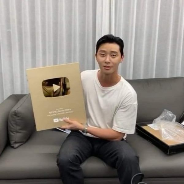 Park Seo-joon with his Gold Play Button