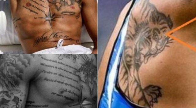 A collage of Lamont Marcell Jacobs' tattoos