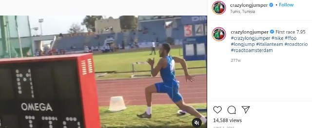 An Instagram post of Marcell Jacobs in which he is talking about his first race at the Mediterranean Athletics U23 Championships
