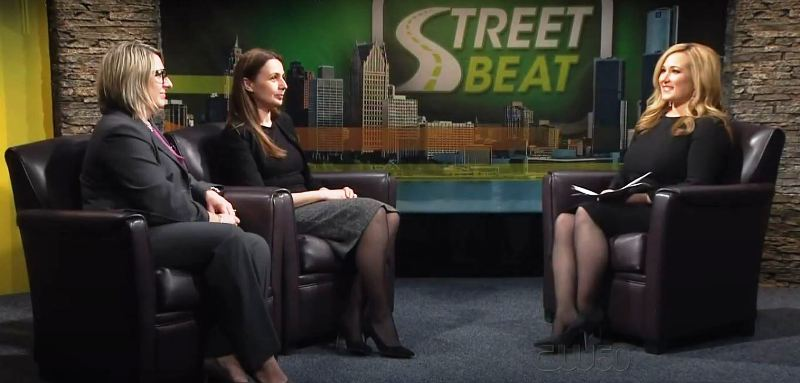 April Moss hosting the talk show 'Street Beat'