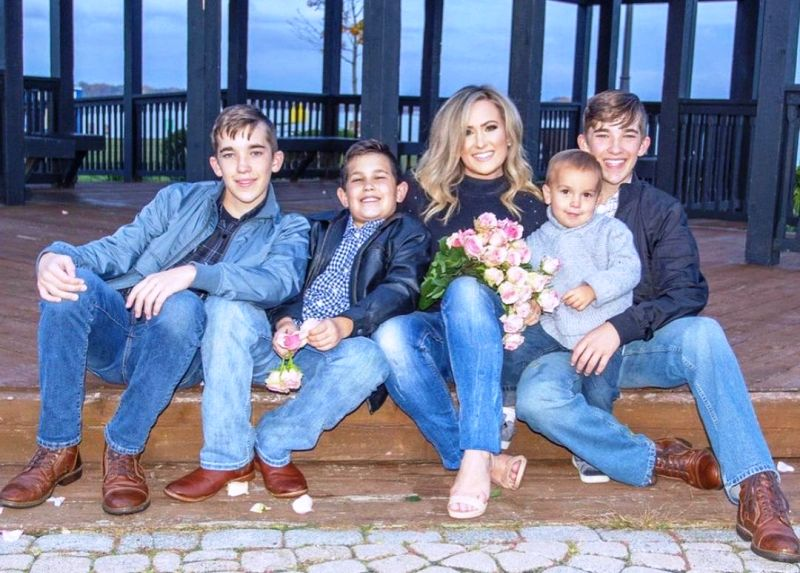 April Moss with her sons