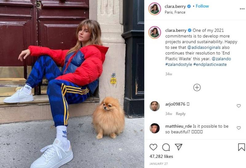 Clara Berry talking about her #endplasticwaste initiative with Adidas in an Instagram post