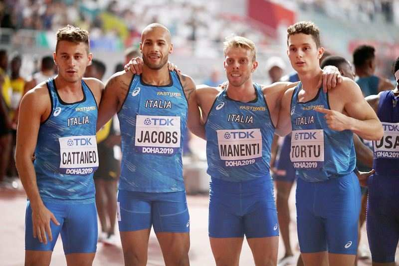 Lamont Marcell Jacobs as a part of the Italian team at the 2019 World Athletics Championships