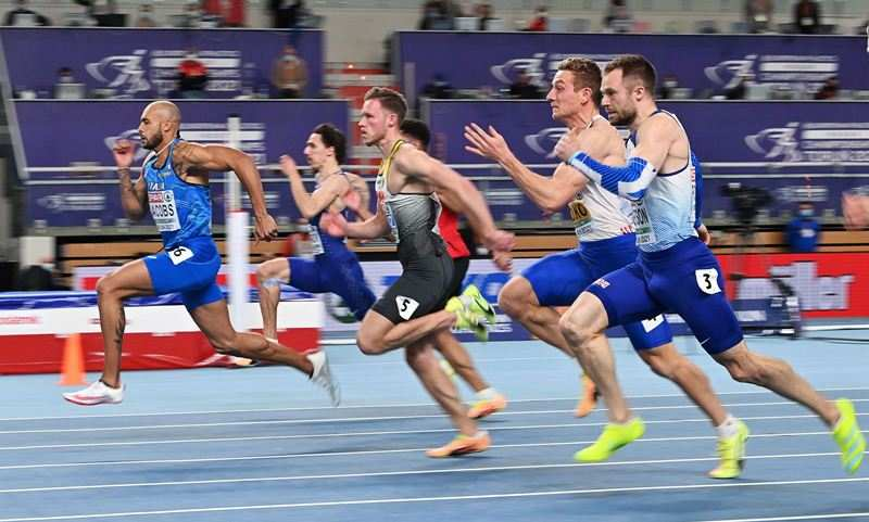 Lamont Marcell Jacobs during the 2021 European Athletics Indoor Championships