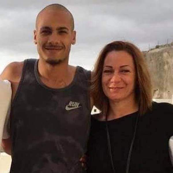 Lamont Marcell Jacobs with his mother