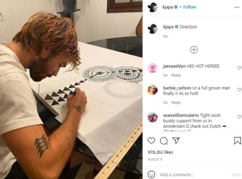 KJ Apa's Instagram post showing him making a Samoan art piece